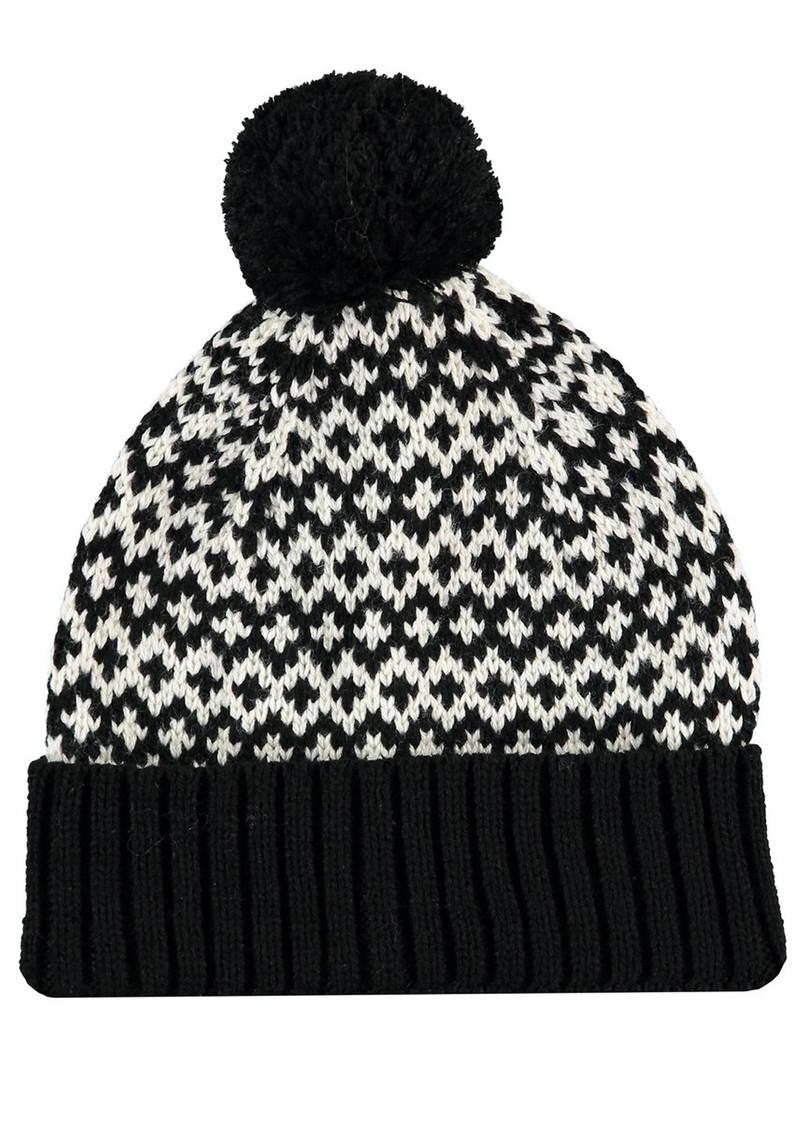 MISS POM POM Graphic Beanie Pom Hat - Black main image
