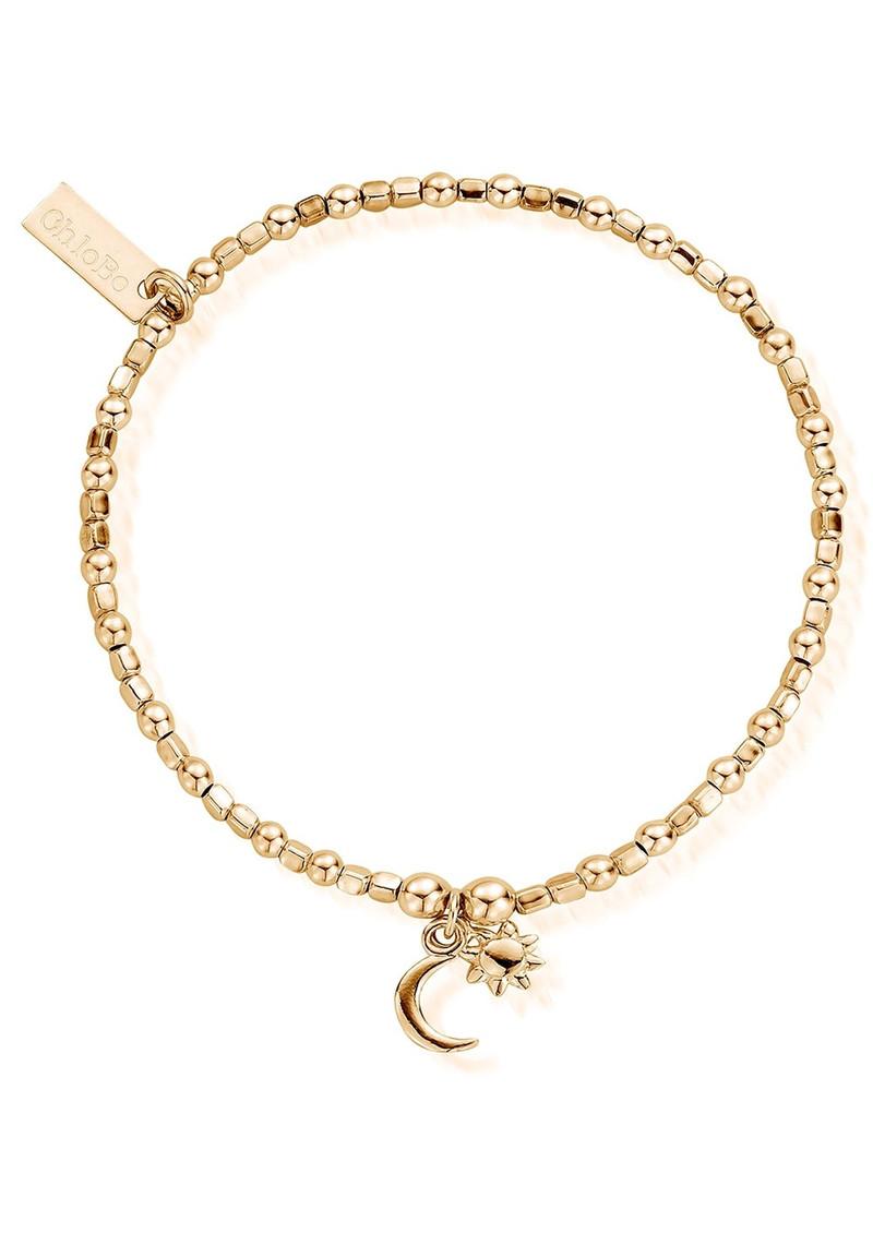 ChloBo Mini Cube Dainty Moon & Sun Bracelet - Gold main image