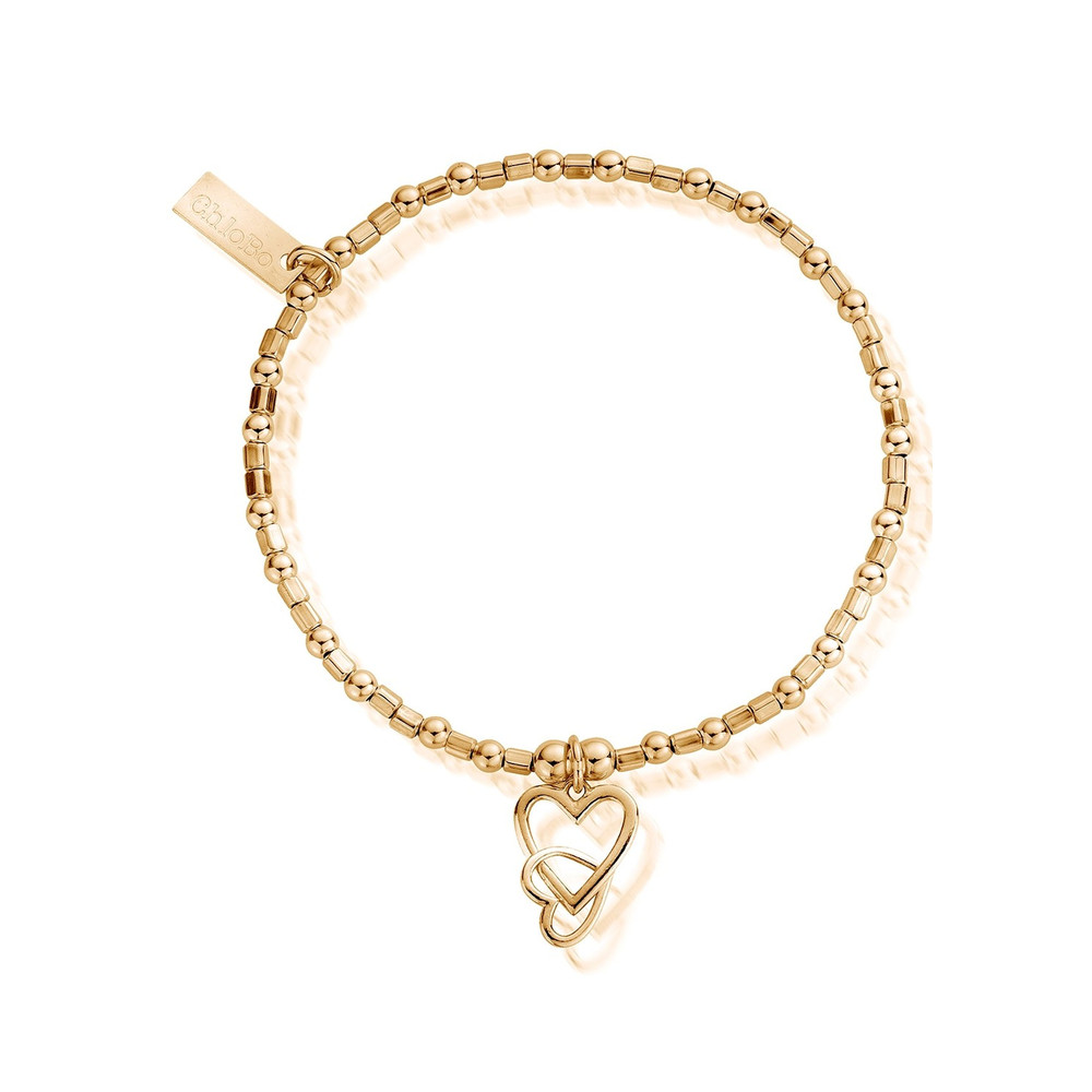 Mini Cube Interlocking Heart Bracelet - Gold