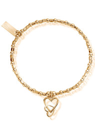 ChloBo Mini Cube Interlocking Heart Bracelet - Gold