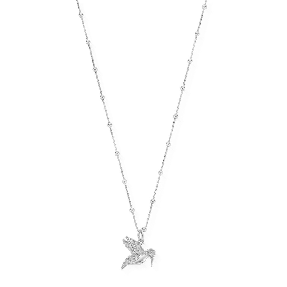 Bobble Chain Hummingbird Necklace - Silver