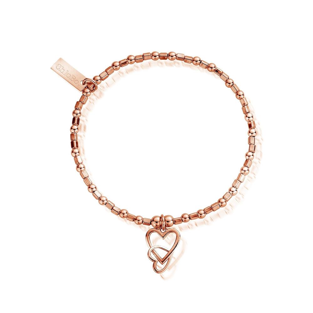 Mini Cube Interlocking Love Heart Bracelet - Rose Gold
