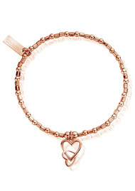 ChloBo Mini Cube Interlocking Love Heart Bracelet - Rose Gold