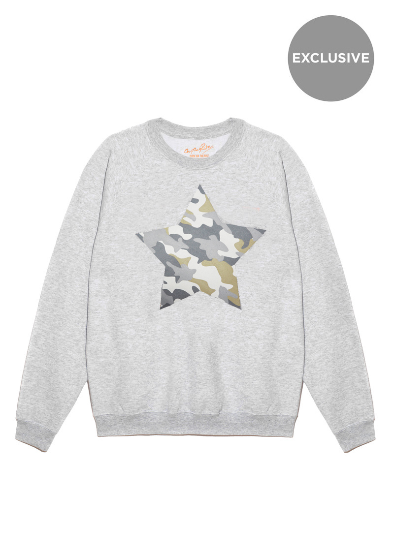 ON THE RISE Exclusive Camouflage Star Jumper - Grey main image