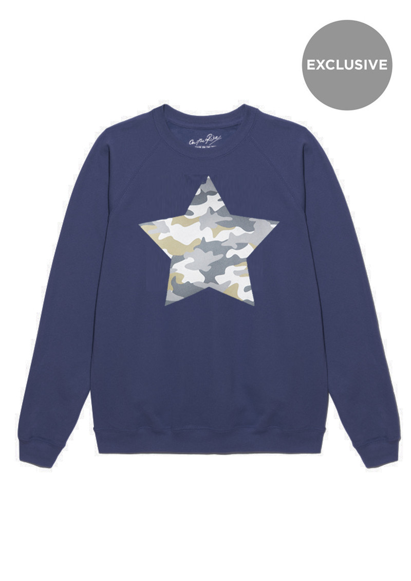ON THE RISE Exclusive Camouflage Star Jumper - Navy main image