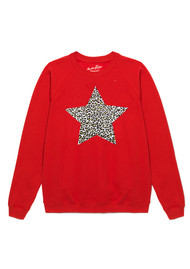 ON THE RISE Leopard Star Jumper - Red