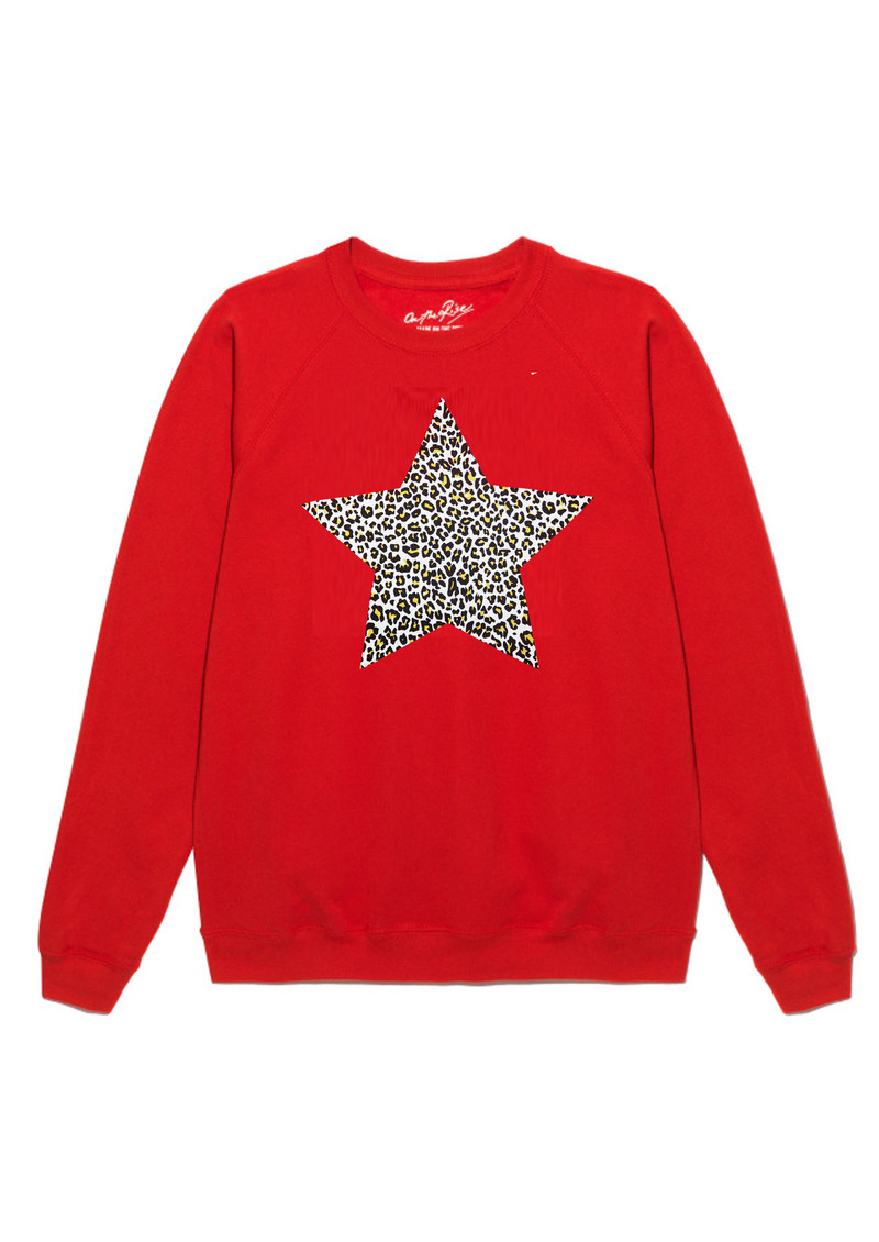 ON THE RISE Leopard Star Jumper - Red main image