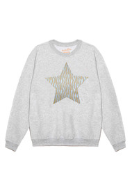 ON THE RISE Zebra Metallic Star Jumper - Grey