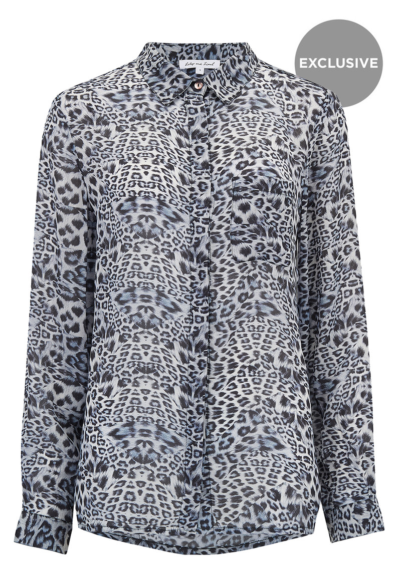 Lily and Lionel Exclusive Daria Shirt - Blue Leopard main image