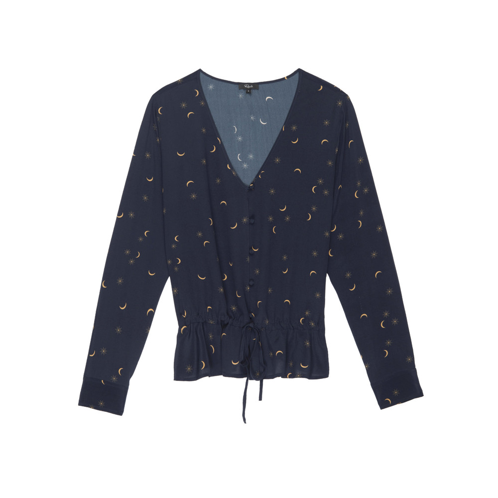 Beaux Silk Blouse - Navy Crescent Moon