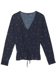 Rails Beaux Silk Blouse - Navy Crescent Moon