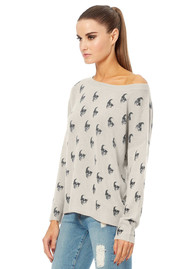 360 SWEATER Skull Cashmere Jolie Sweater - Heather Grey Charcoal