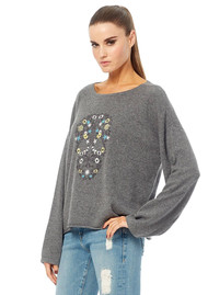 360 SWEATER Skull Cashmere Alyssa Embroidered Cashmere Sweater - Charcoal Multi