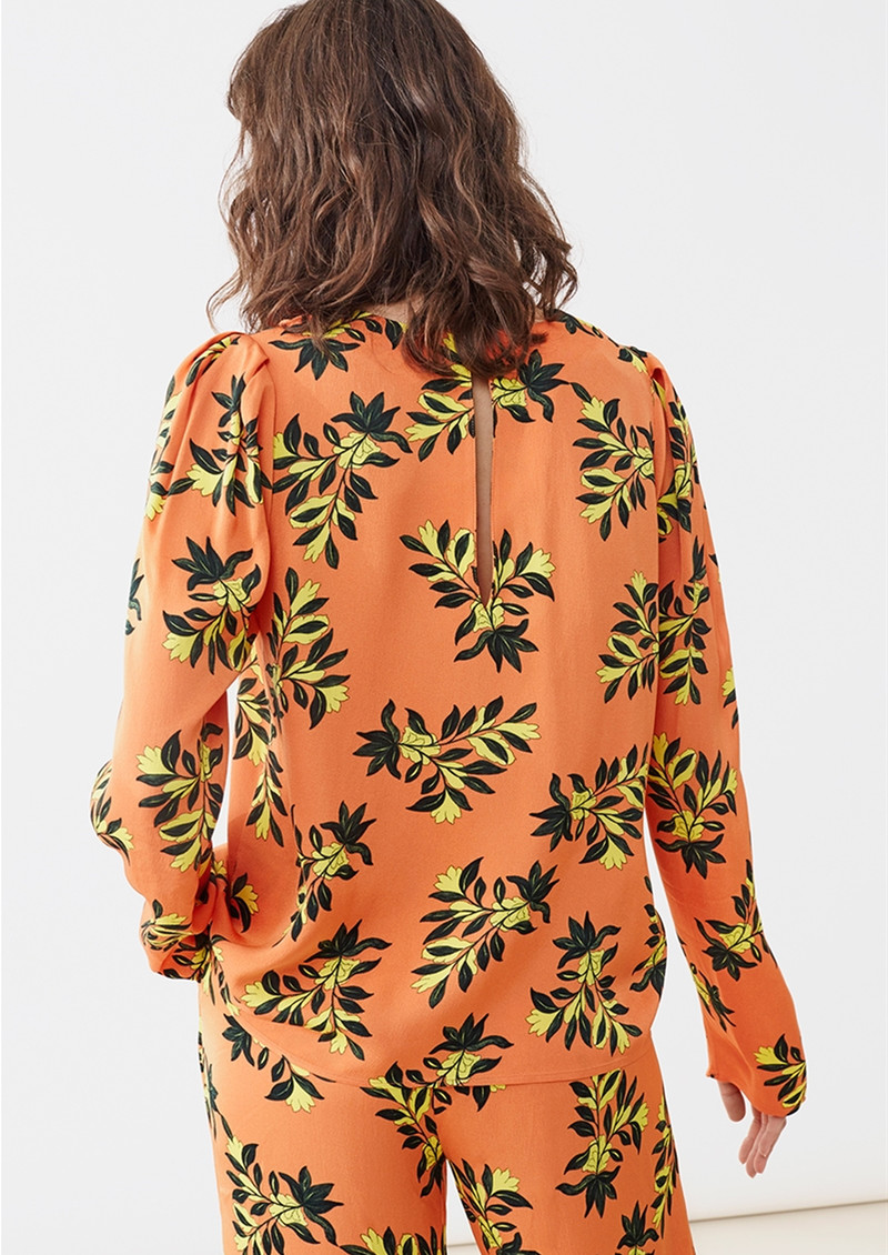 Twist and Tango Peggy Blouse - Orange Flower main image
