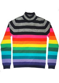 JUMPER 1234 Striped Turtle Neck Cashmere Jumper - Multi Rainbow