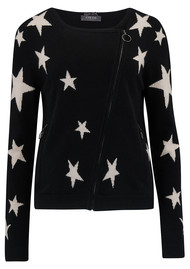 COCOA CASHMERE Star Cashmere Biker Jacket - Black & Oatmeal