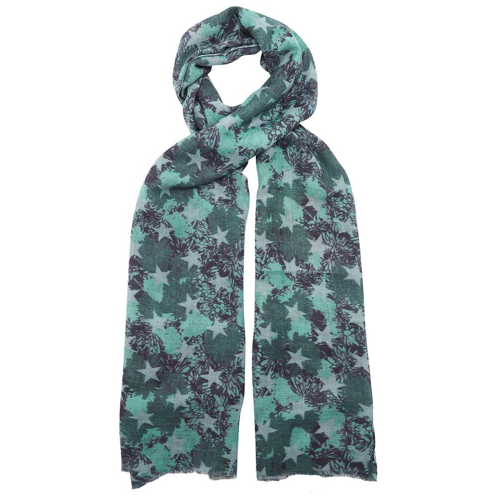 Stars Floral Wool Scarf - Tidepool