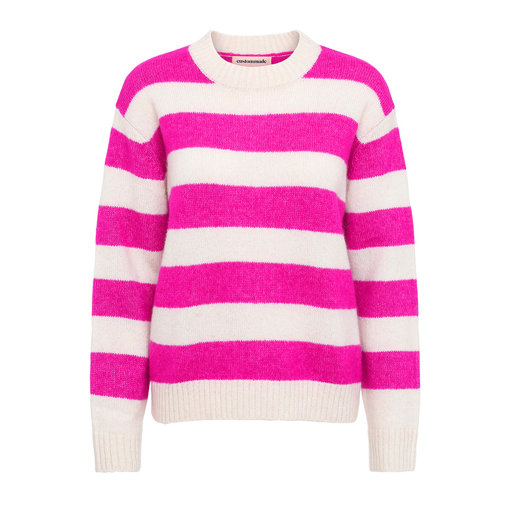 Betty Striped Pullover - Whisper White & Pink