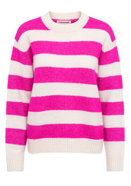 CUSTOMMADE Betty Striped Pullover - Whisper White & Pink