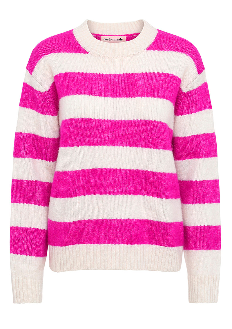 CUSTOMMADE Betty Striped Pullover - Whisper White & Pink main image