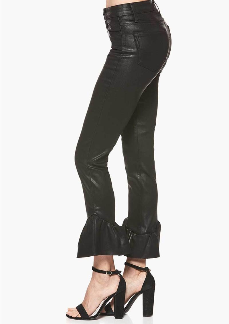 Paige Denim Hoxton Straight Ankle Coated Ruffle Hem Jeans - Black Fog main image