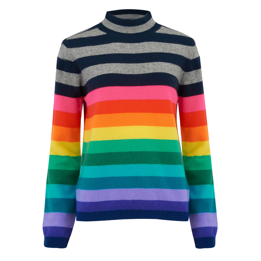 Striped Turtle Neck Cashmere Jumper - Multi Rainbow