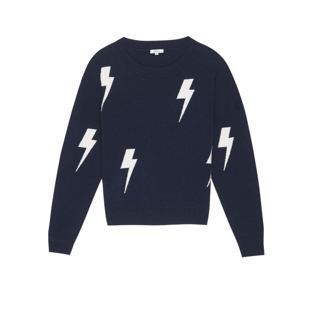 Presley Lightning Pullover - Navy & White