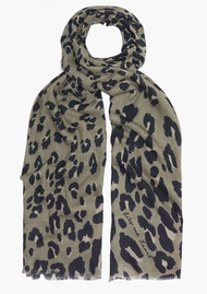Lily and Lionel Textured Leopard Scarf - Khaki