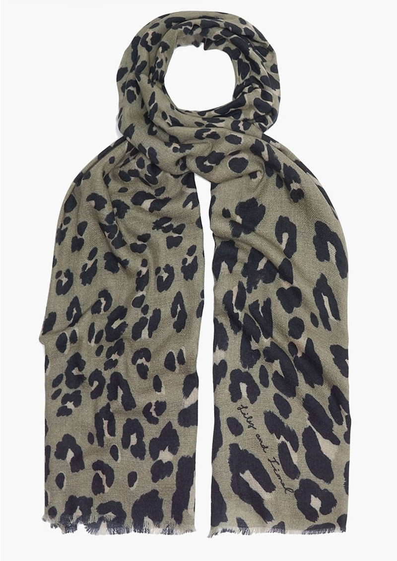 Lily and Lionel Textured Leopard Scarf - Khaki main image