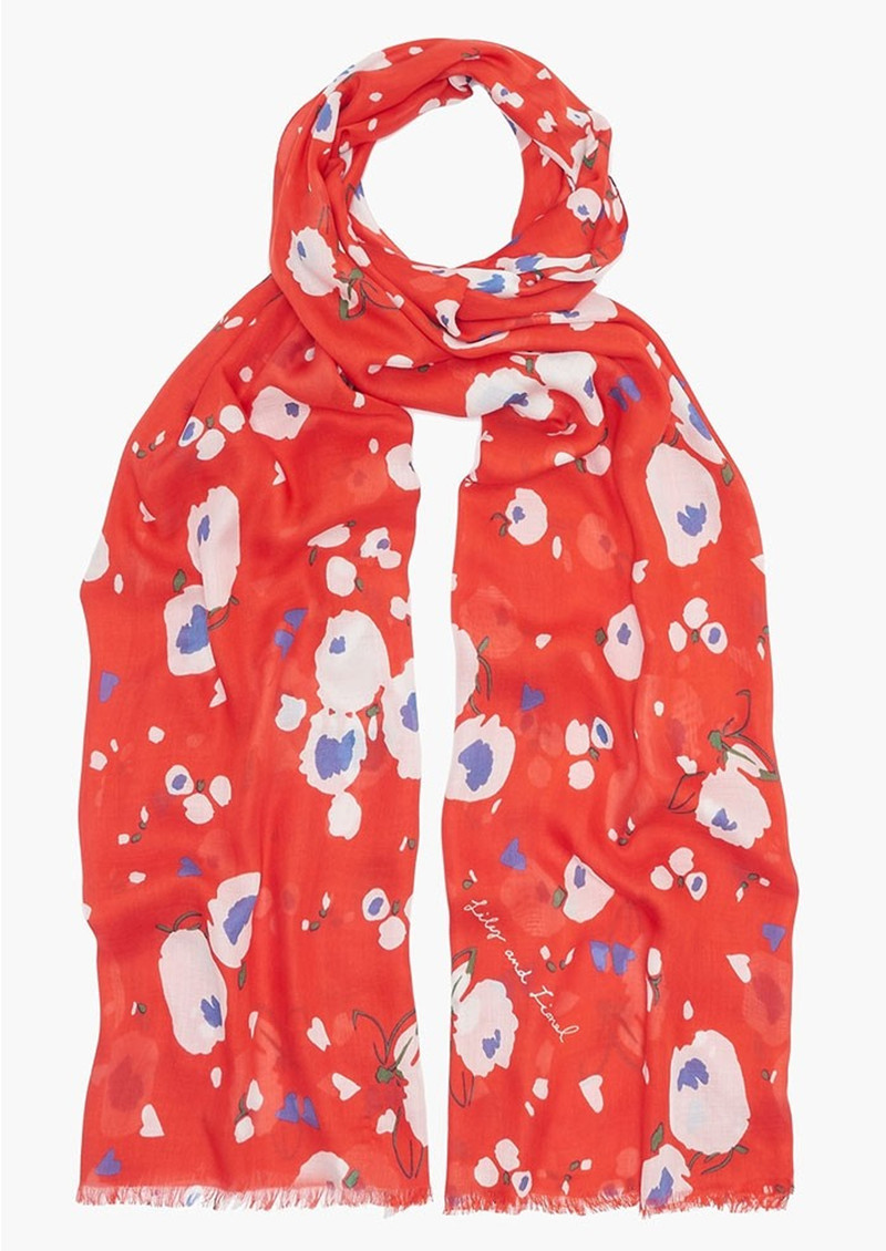 Love Heart Floral Scarf - Red main image