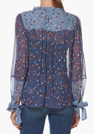 Paige Denim Dorothy Silk Blouse - Crown Blue Floral