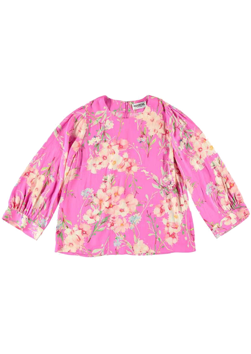 ESSENTIEL ANTWERP Saad Floral Boxy Top - Crazy Fuschia  main image