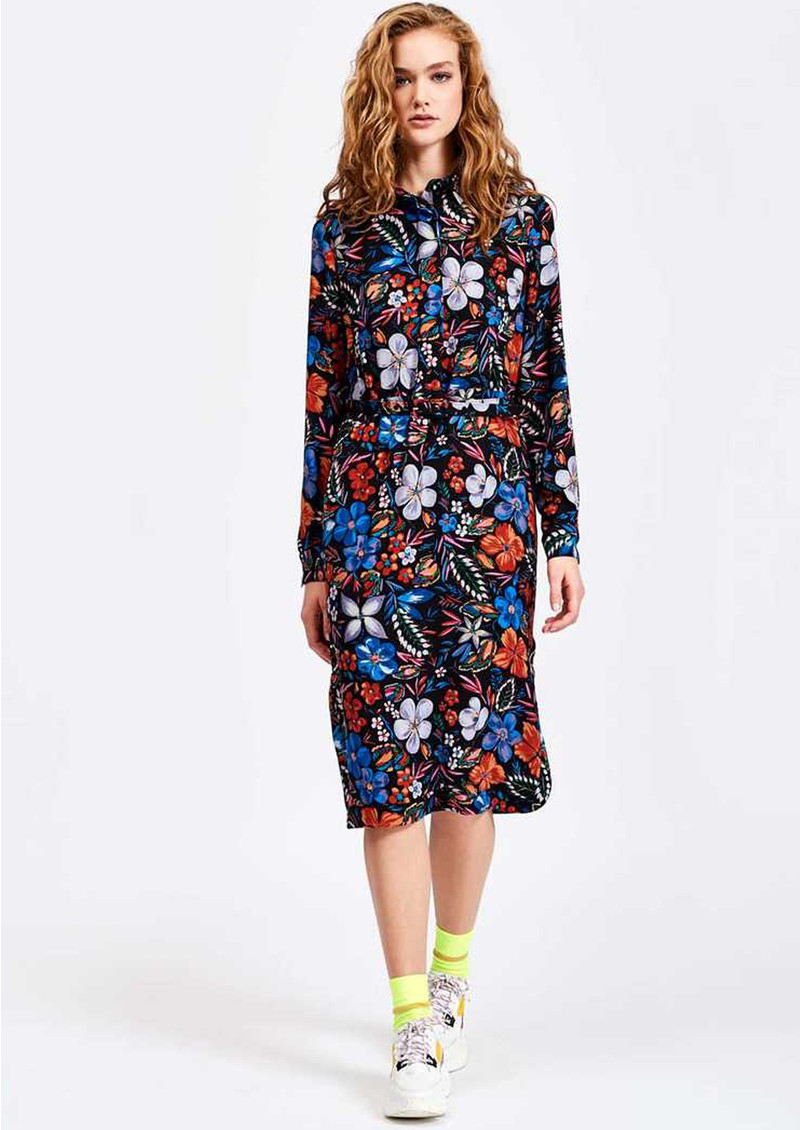 ESSENTIEL ANTWERP Sabaton Dark Floral Shirt Dress - Moon  main image