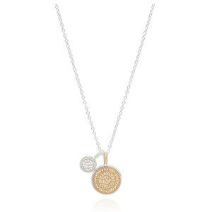 Circle Of Life Charity Dual Divided Disc Necklace - Gold & Silver