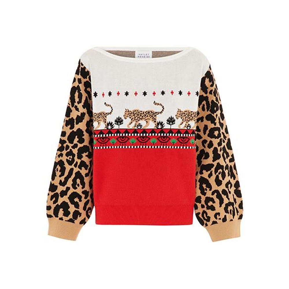 Leopardess Jumper - Red