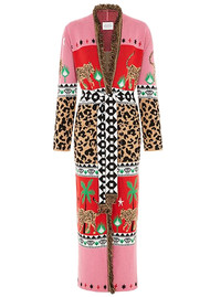 HAYLEY MENZIES Leopardess Duster Cardigan - Red Pink