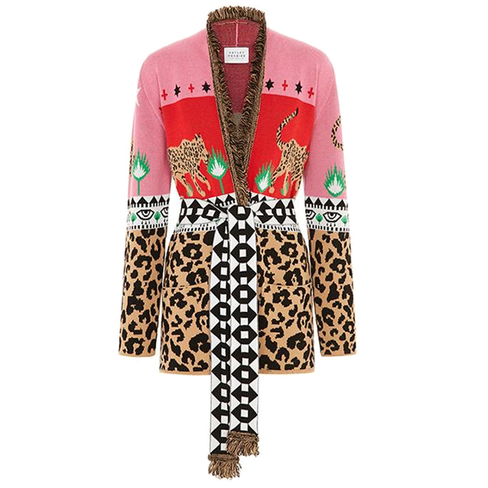 Leopardess Short Cardigan - Red Pink