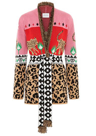 HAYLEY MENZIES Leopardess Short Cardigan - Red Pink