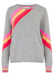 COCOA CASHMERE Diagonal Rainbow Stripe Cashmere Sweater - Grey Pink
