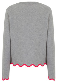 COCOA CASHMERE Scalloped Edge Cashmere Sweater - Grey