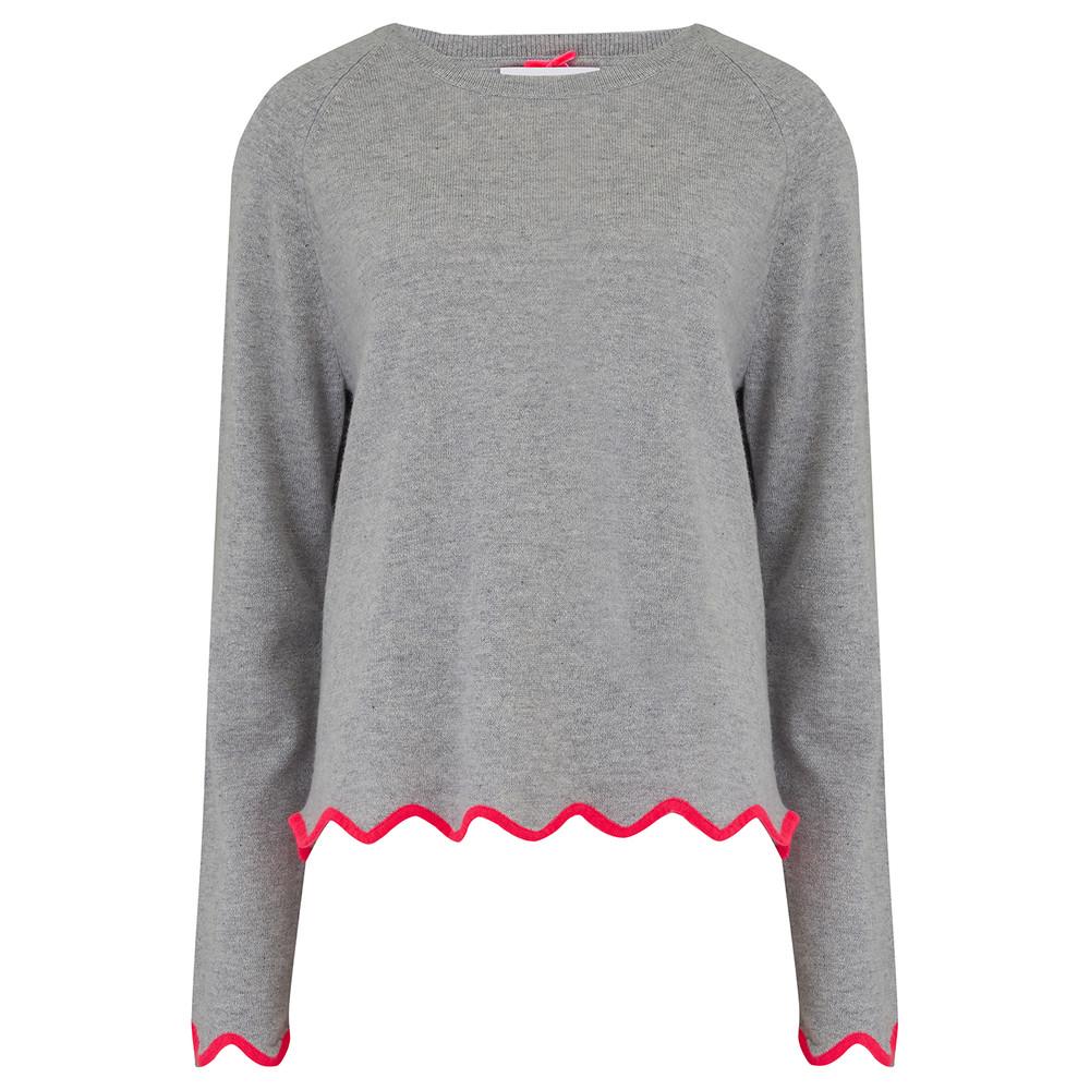 Scalloped Edge Cashmere Sweater - Grey