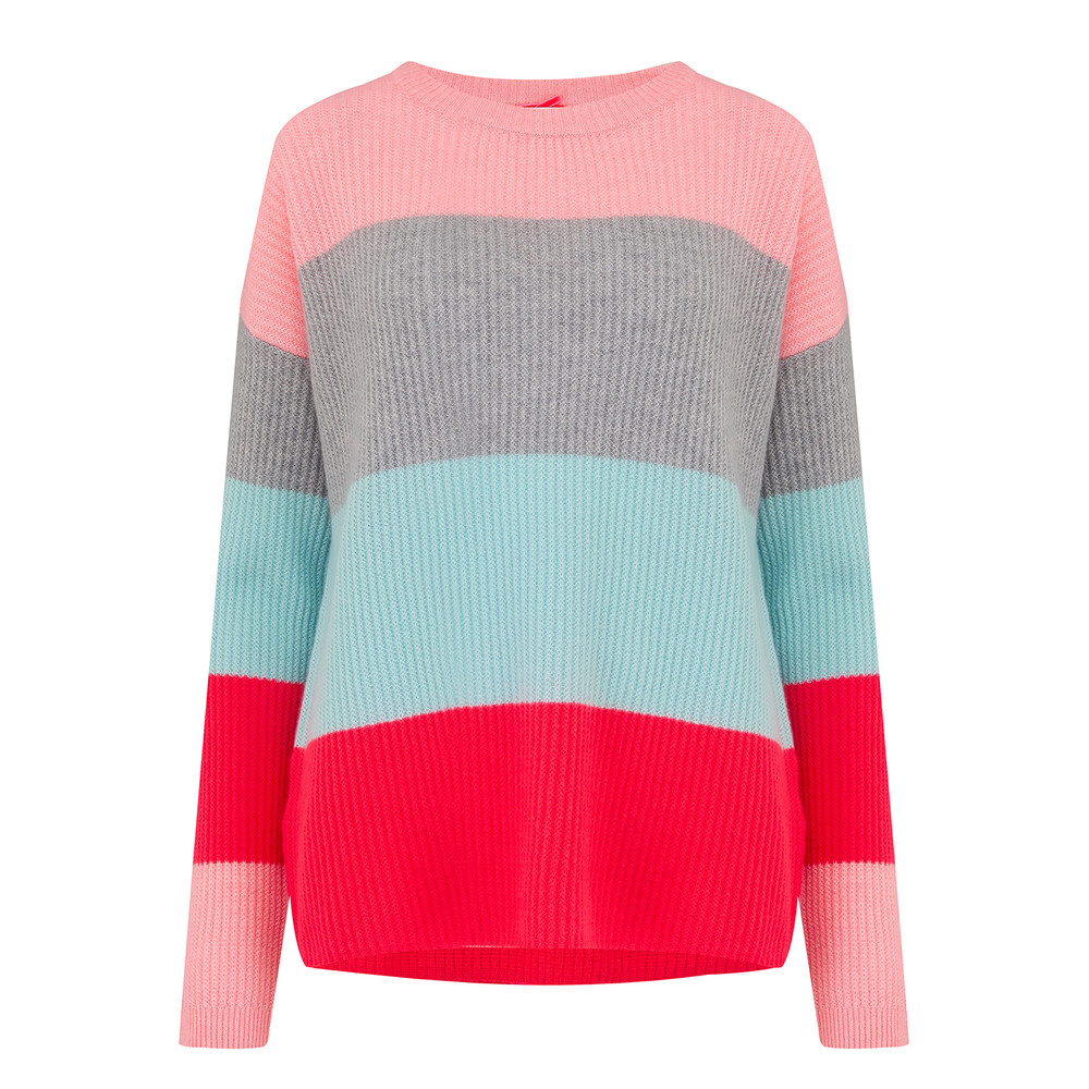Bold Stripe Cashmere Jumper - Peach