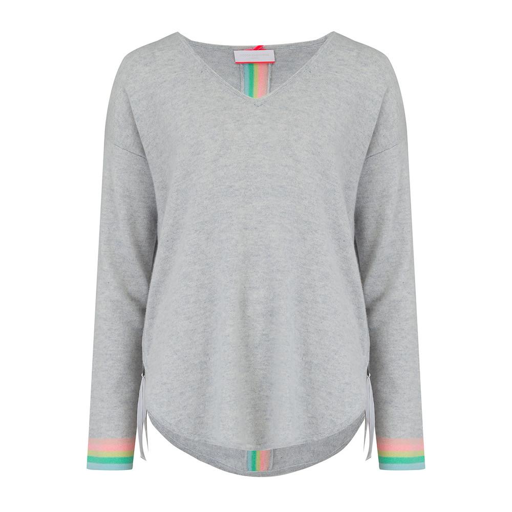 Rainbow Tipped Stripe Cashmere Jumper - Cloud
