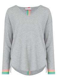 COCOA CASHMERE Rainbow Tipped Stripe Cashmere Jumper - Cloud
