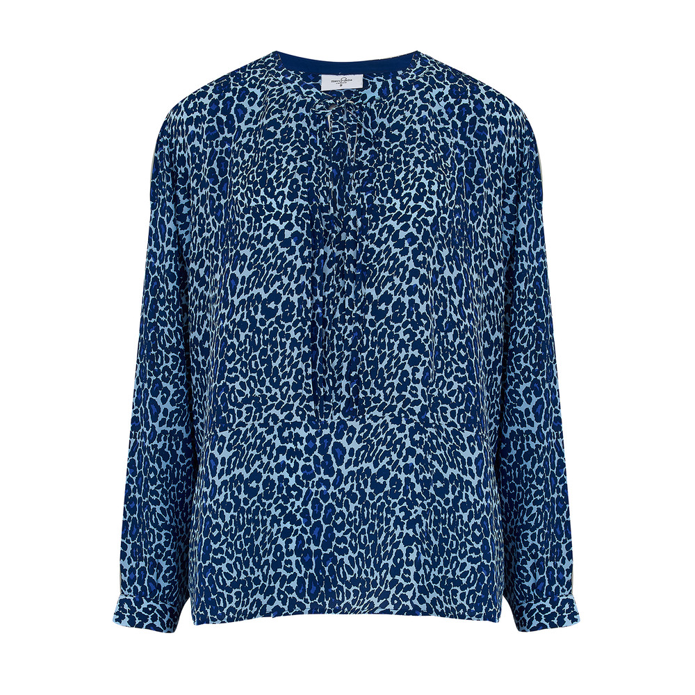 Fenton Silk Blouse - Bluebell Micro Safari