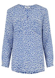 Mercy Delta Windsor Silk Hearts Blouse - Bluebell