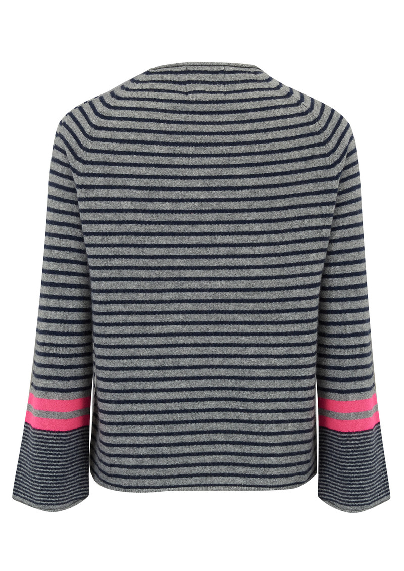 JUMPER 1234 Striped Trumpet Jumper - Grey, Navy & Pink main image