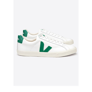 Esplar Leather Trainers - Extra White & Emeraude