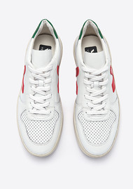 VEJA V-10 Leather Trainers - Extra White, Pekin & Emeraude