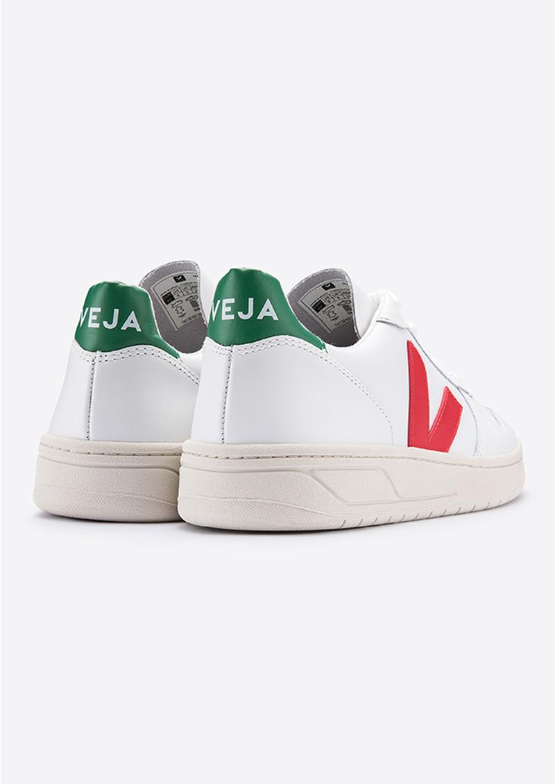 VEJA V-10 Leather Trainers - Extra White, Pekin & Emeraude main image